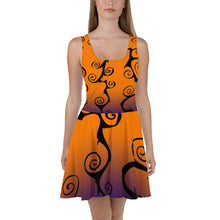 Load image into Gallery viewer, Black Swirl with Purple and Orange Halloween Skater Dress