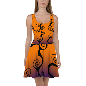 Black Swirl with Purple and Orange Halloween Skater Dress