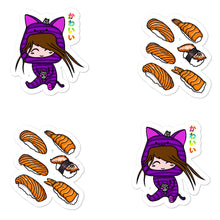 Load image into Gallery viewer, Cute Kawaii Cat Girl and Sushi Bubble-free stickers