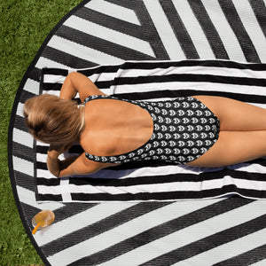 Black Goth Skull Pattern One-Piece Swimsuit
