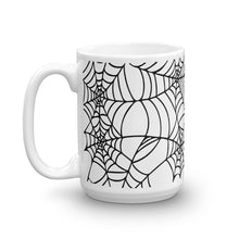 Load image into Gallery viewer, Black and White Spider Web Halloween Coffee Mug 15oz side view