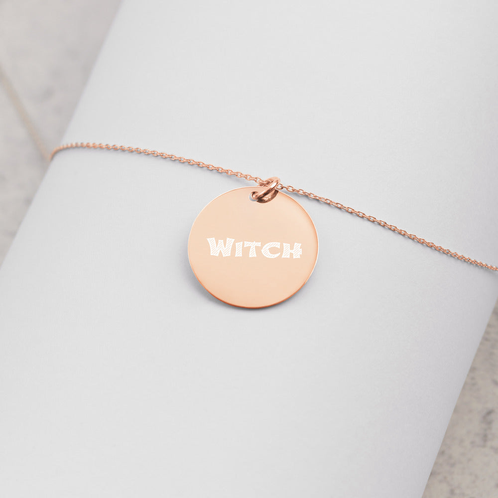 Witch Jewelry Engraved Silver Disc Necklace