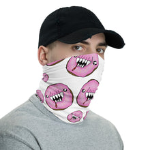 Load image into Gallery viewer, White and Pink Man Eating Donuts Neck Gaiter Face Mask