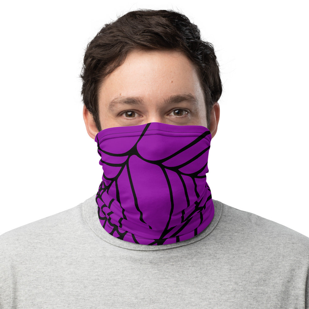Purple and Black Spider Web Face Mask Neck Gaiter