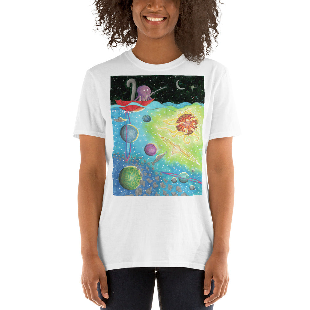 Octopus Fishing For a Spaceship Short-Sleeve Unisex T-Shirt
