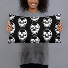 Load image into Gallery viewer, White Skull Goth Black Pillow