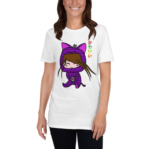 Kawaii Cat Girl with Two Cats Short-Sleeve Unisex T-Shirt white