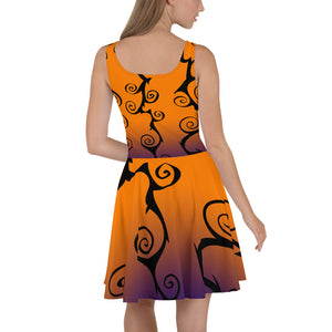 Black Swirl with Purple and Orange Halloween Skater Dress back view
