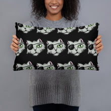 Load image into Gallery viewer, Pirate Cat Black Pillow