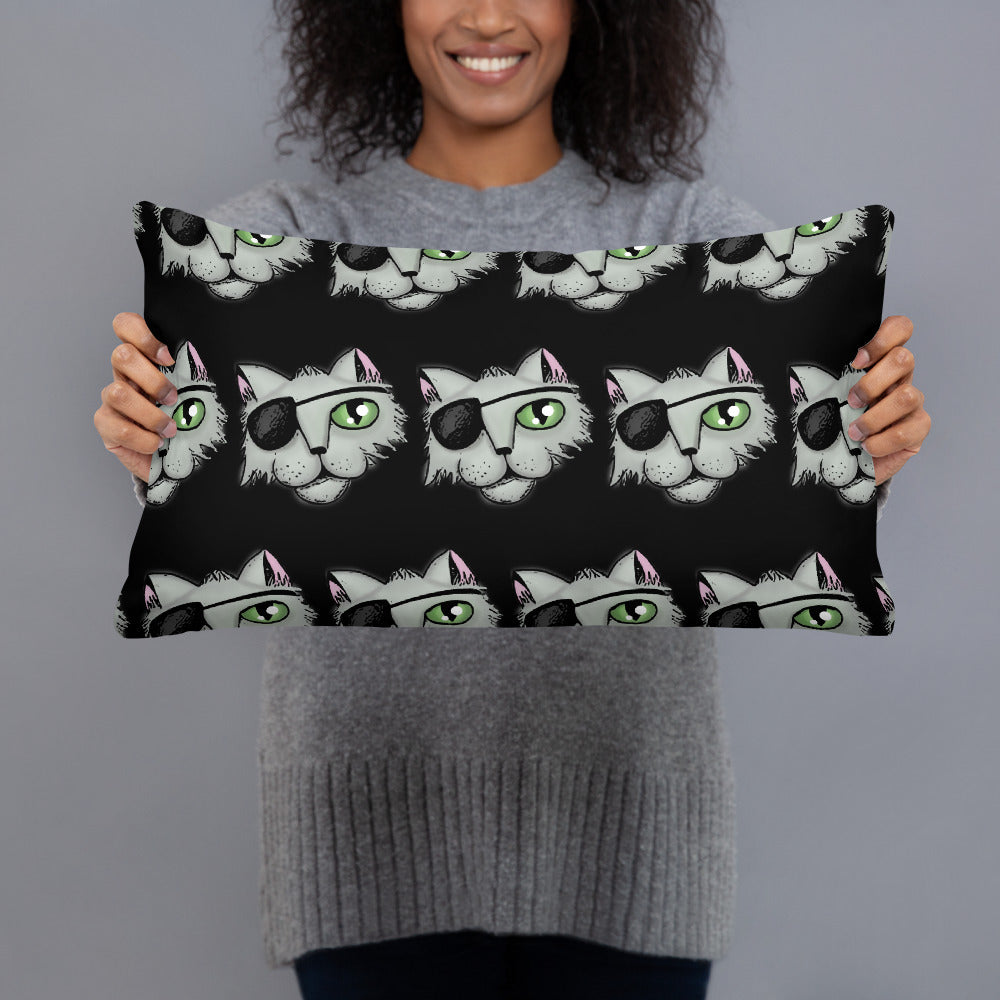 Pirate Cat Black Pillow