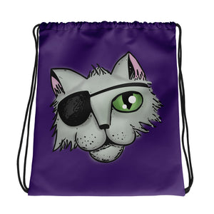 Pirate Cat Drawstring bag, Purple, Red, Black