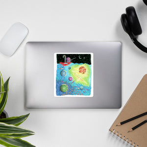 Kawaii Cute  Bullet Journal Octopus Fishing For Spaceship Sticker