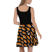 Load image into Gallery viewer, Black with Sushi Pattern Skater Dress