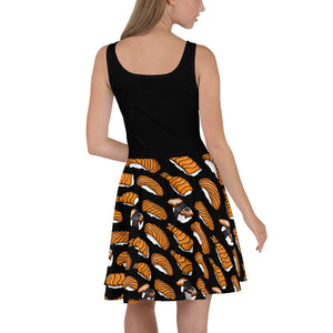 Black with Sushi Pattern Skater Dress