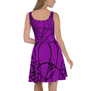 Purple Halloween Spider Web Skater Dress