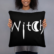 Load image into Gallery viewer, The word Witch in white creepy letters on a black pillow