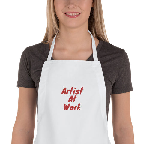Artist At Work Red Embroidered Apron