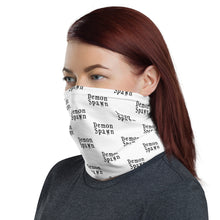 Load image into Gallery viewer, White with black letters Demon Spawn Neck Gaiter Face Mask