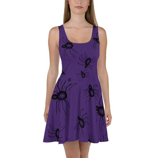 Purple Goth Halloween Spiders everywhere women's Skater spider Dress