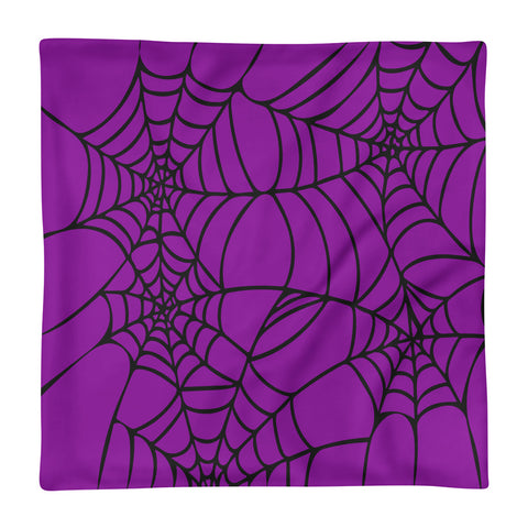 Purple Halloween Spider Web Basic Pillow Case only