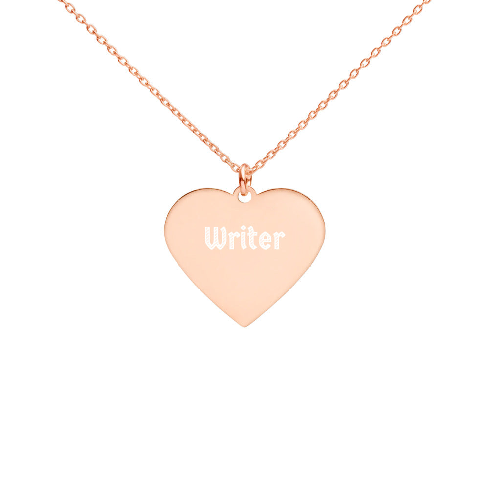 Writer Engraved Silver Heart Necklace