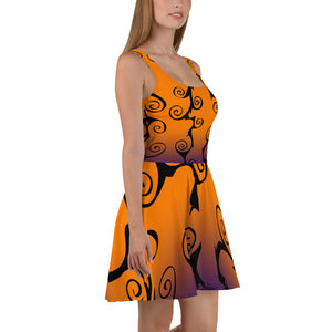 Goth Clothing Style Black Swirl with Purple and Orange Halloween Skater Dress