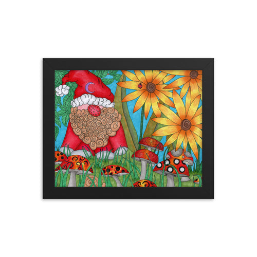 The Gnome Original art print by Roxanne Crouse Framed poster