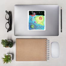 Load image into Gallery viewer, Kawaii Cute  Bullet Journal Octopus Fishing For Spaceship Sticker