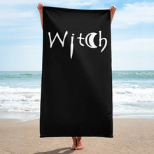 Load image into Gallery viewer, Goth black beach towel with witch in white letters Goth home decor Goth accesories