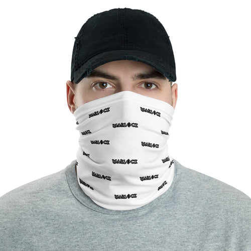 White with Black Lettering Warlock Neck Gaiter Face Mask