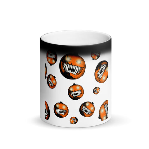 Scary Pumpkin Halloween Matte Black Magic Coffee Mug