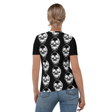 Load image into Gallery viewer, White Skulls Goth Women's Black T-shirt