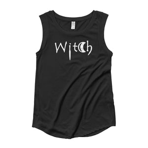 The Word Witch in white Letters Ladies' Cap Sleeve Black T-Shirt