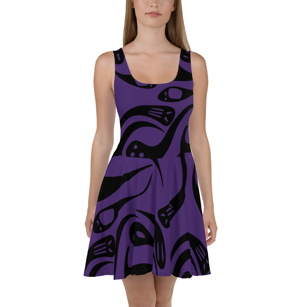 Purple Halloween Ghost Skater Dress