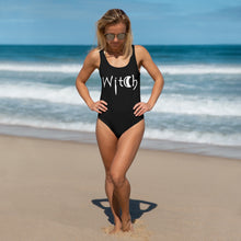 Load image into Gallery viewer, Witch Clothing Black bathing suit with Witch in white letters One-Piece Swimsuit