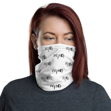 White with Black Lettering Witch Neck Gaiter Face Mask