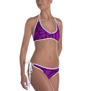 Purple Halloween Spider Web Bikini