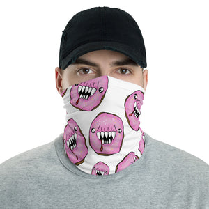 White and Pink Man Eating Donuts Neck Gaiter Face Mask