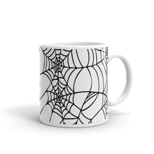 Load image into Gallery viewer, Black and White Spider Web Halloween Coffee Mug side view