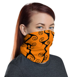 Purple and Orange black Swirls Neck Gaiter Face Mask