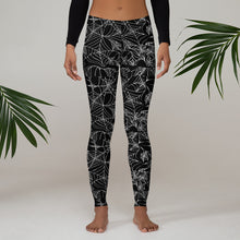 Load image into Gallery viewer, Black Goth  Spider Web Halloween Leggings
