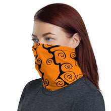 Load image into Gallery viewer, Purple and Orange black Swirls Neck Gaiter Face Mask