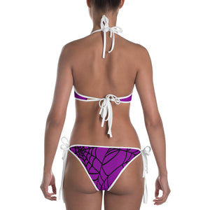 Purple Halloween Spider Web Bikini back view