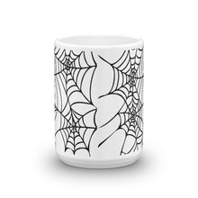 Load image into Gallery viewer, Goth home decor Black and White Spider Web Halloween Coffee Mug