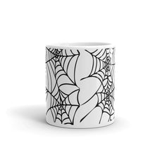 Load image into Gallery viewer, Black and White Spider Web Halloween Coffee Mug front view