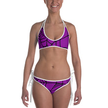 Load image into Gallery viewer, Purple Halloween Spider Web Bikini front view