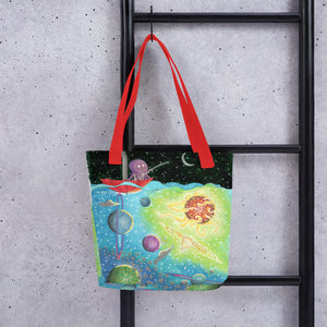 Octopus Fishing for a Spaceship Tote bag