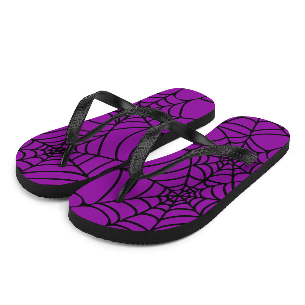 purple and black Halloween spider web flip flop for any goths summer spooky clothes collection  side view