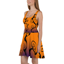 Load image into Gallery viewer, Black Swirl with Purple and Orange Halloween Skater Dress side view