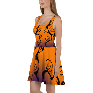 Black Swirl with Purple and Orange Halloween Skater Dress side view